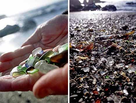 Морское стекло на берегу