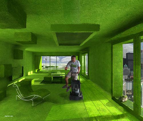 Комната зеленого цвета