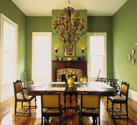 Зеленая столовая в интерьере