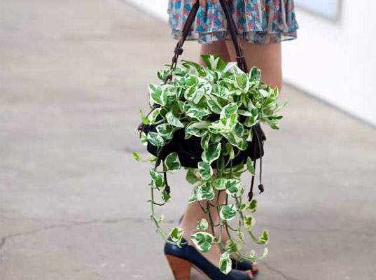 Зеленая сумка-цветок