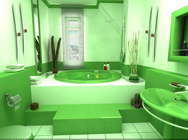Зеленая ванная комната в дизайне помещений